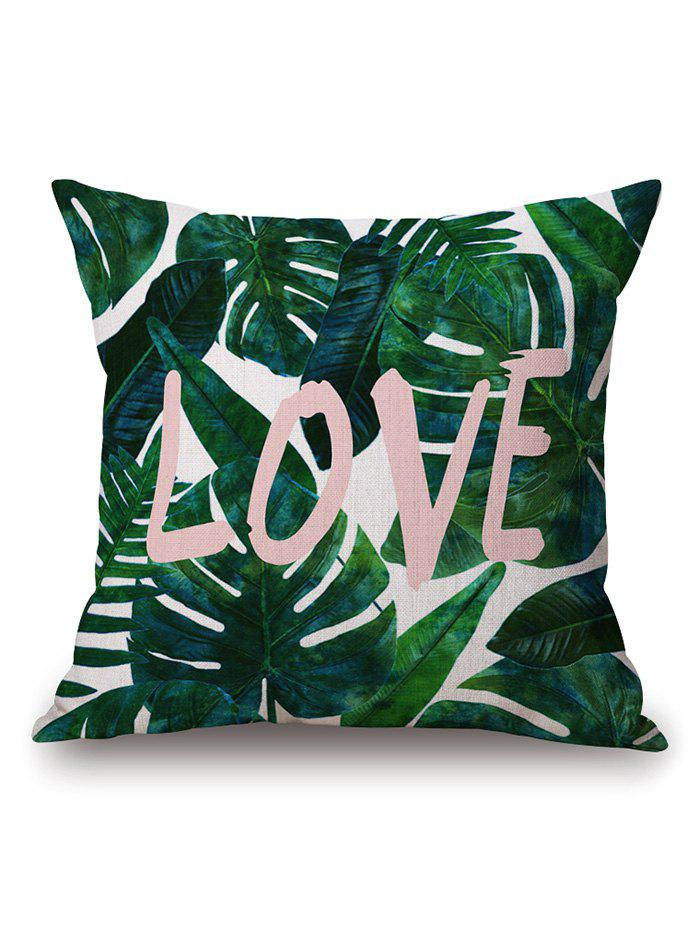 Leaves Print Cushion Pillow Case Civer - BLACKISH GREEN 45*45CM