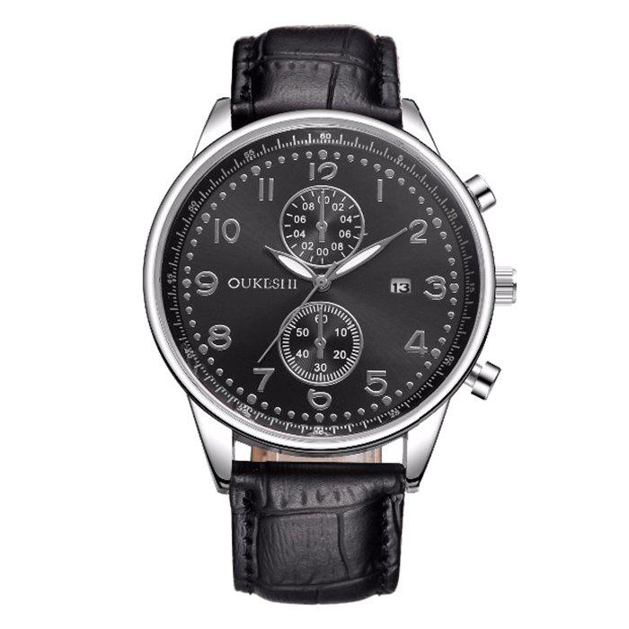 OUKESHI Faux Leather Watch Date Watch
