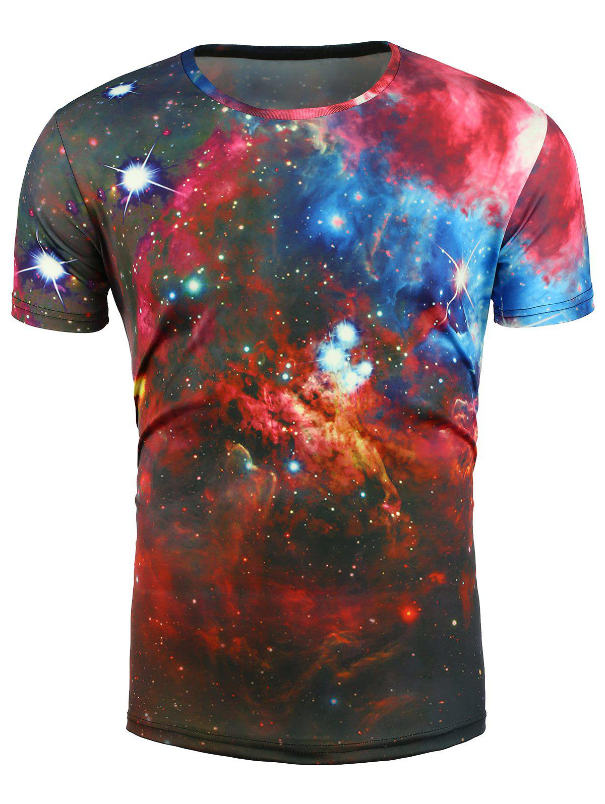 3D Colorful Print Trippy Galaxy T-Shirt 3d galaxy print crew neck trippy t shirt