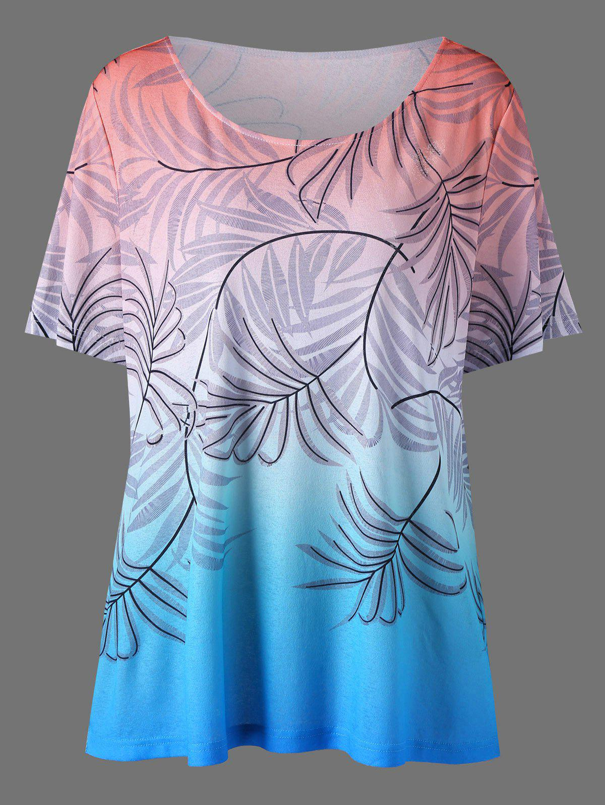 Plus Size Leaf Print Ombre T-Shirt от Dresslily.com INT