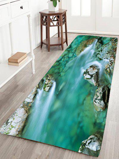 2018 Mountain Stream Water Flannel Skidproof Rug Green W