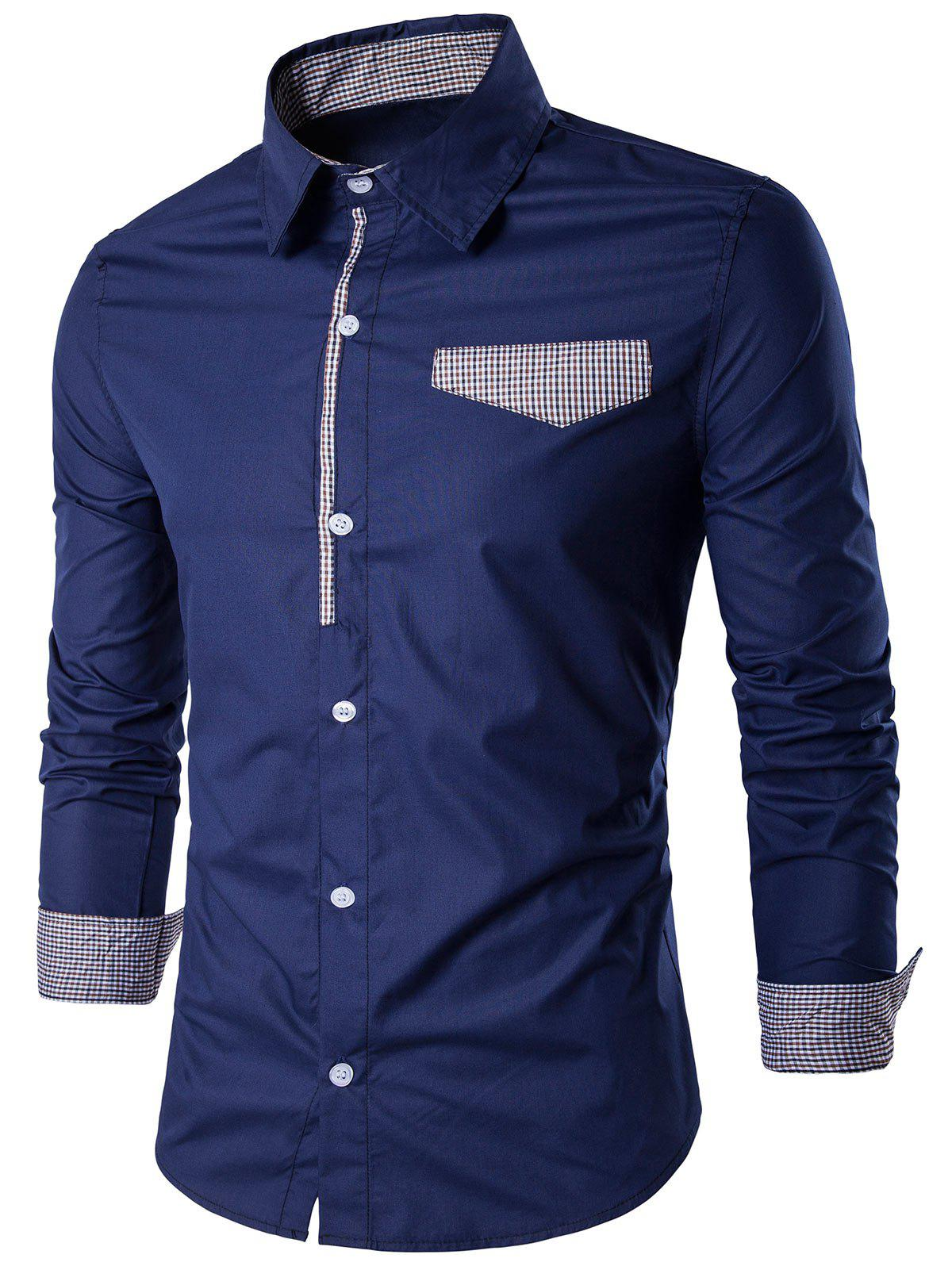 Long Sleeve Gingham Detail Shirt - CERULEAN XL