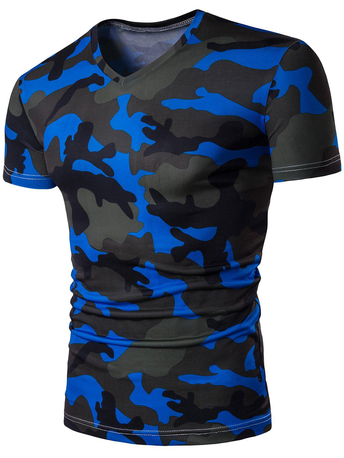 Short sleeve v neck camo t shirt blue xl in t shirts for Camouflage t shirt design