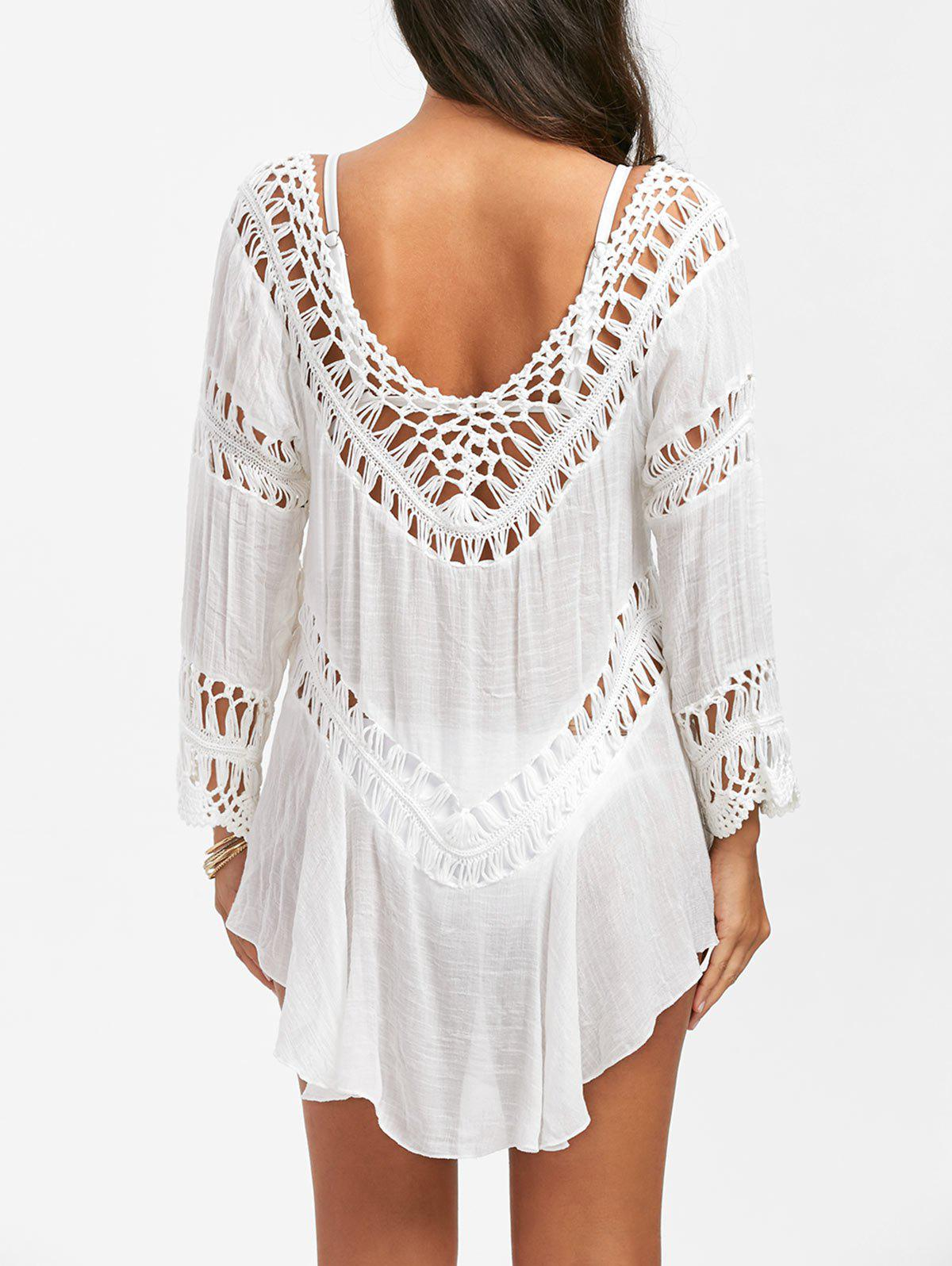 Semi-Sheer Crochet Dress Cover Up - WHITE ONE SIZE