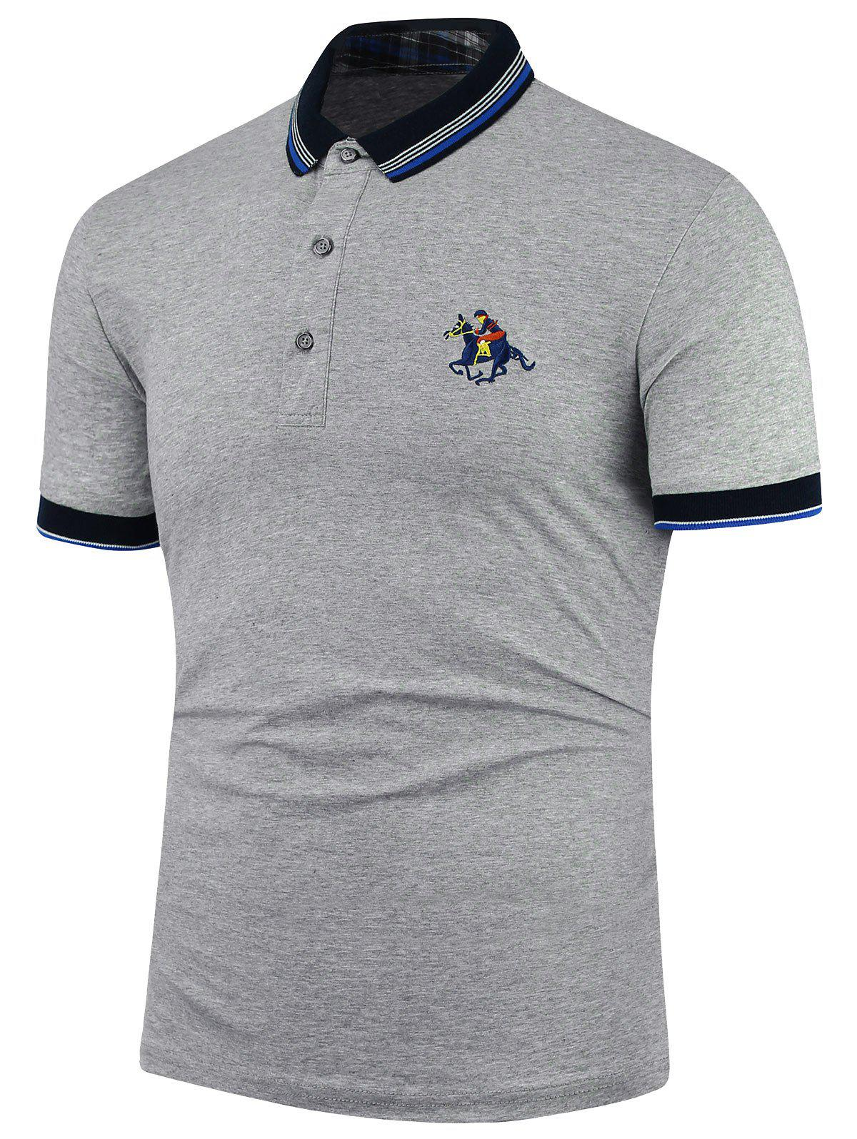 Horse embroidery stripe polo shirt gray xl in t shirts