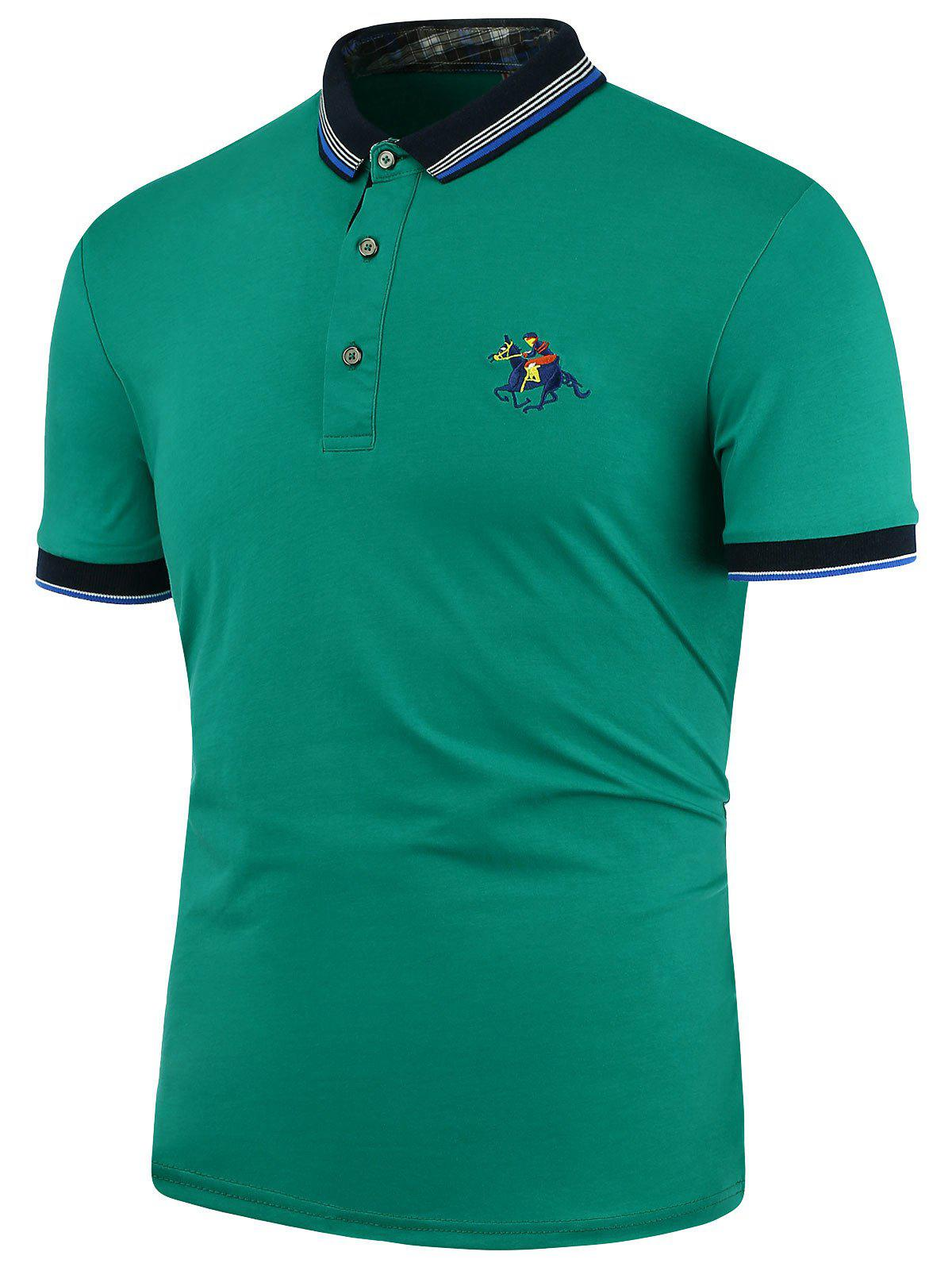 Horse embroidery stripe polo shirt azure xl in t shirts