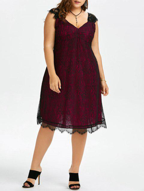 Plus Size Eyelash Lace Retro Party Dress - WINE RED 5XL