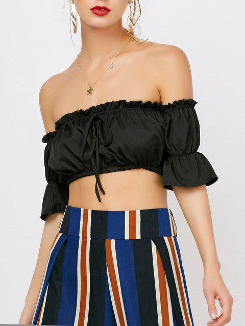 Ruffle Off The Shoulder Crop Top - BLACK M