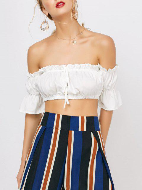 Ruffle Off The Shoulder Crop Top - WHITE XL