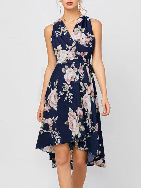 High Low Floral Sleeveless Dress - DEEP BLUE L