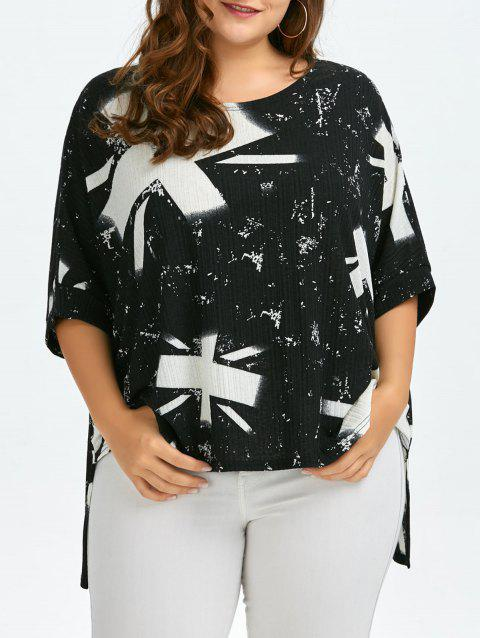 2018 Plus Size Union Jack High Low T Shirt White One Size In T