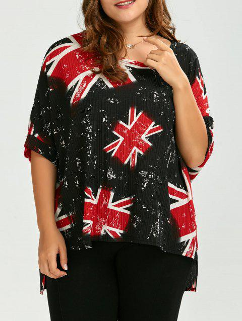 41 Off 2018 Plus Size Union Jack High Low T Shirt In Red One
