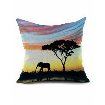 Elephant Tree Cushion Cover African Throw Pillow Case