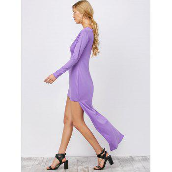 Backless High Low Long Plunging Neck Dress - PURPLE L