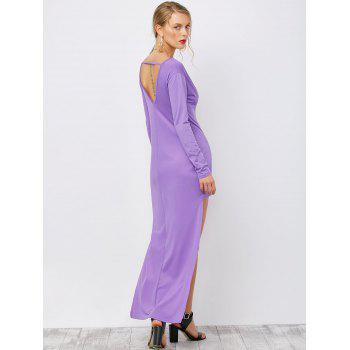 Backless High Low Long Plunging Neck Dress - PURPLE XL