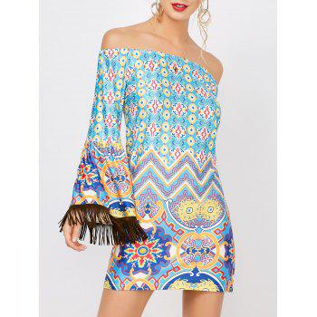 Off The Shoulder Fringe Print Fitted Dress