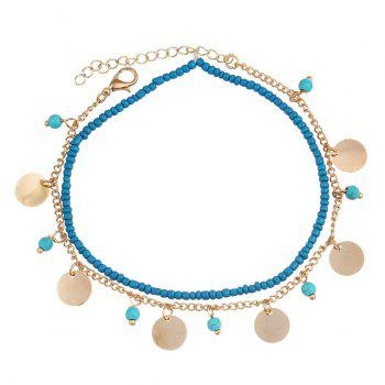 Beads Faux Turquoise Anklet - GOLDEN GOLDEN