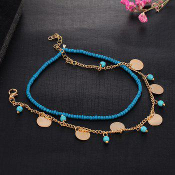 Beads Faux Turquoise Anklet -  GOLDEN
