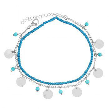 Beads Faux Turquoise Anklet - SILVER SILVER