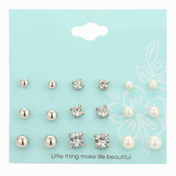 Rhinestone Faux Pearl Stud Earrings Set