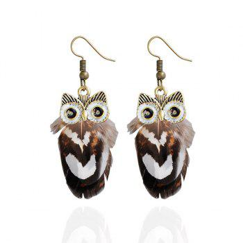 Feather Owl Drop Earrings