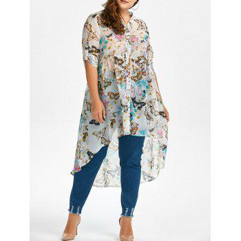 Butterfly Print High Low Plus Size Top
