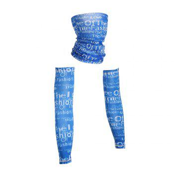Graphic Quick Dry Cycling Mask and Arm Sleeves - BLUE L