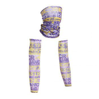 Graphic Quick Dry Cycling Mask and Arm Sleeves - PURPLE M