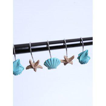 12 Pcs Seashell Shower Curtain Hooks -  LAKE BLUE