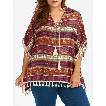 Plus Size Lace Up Tassel Trim Ethnic Tunic
