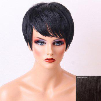 Straight Side Bang Layered Pixie Short Human Hair Wig