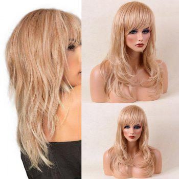 Long Tail Adduction Side Bang Layered Slightly Curled Human Hair Wig