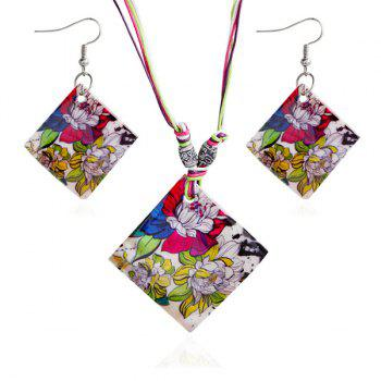 Flowers Pattern Rhombus Necklace and Earrings