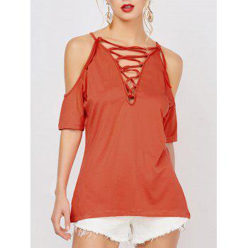 Cold Shoulder Lace Up Tee
