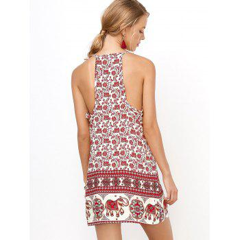 Backless Sundress with Elephant Print - RED RED