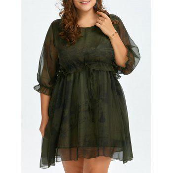 Plus Size Voile Chiffon Lantern Sleeve Smock Dress