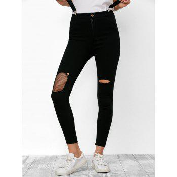 Zipper Fly Fishnet Ripped Jeans - BLACK L