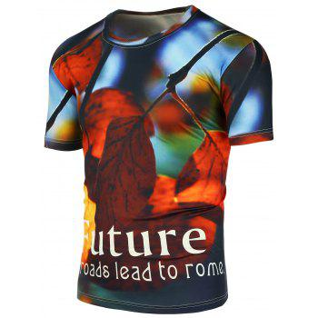 Graphic Leaf 3D Print Short Sleeve T-Shirt