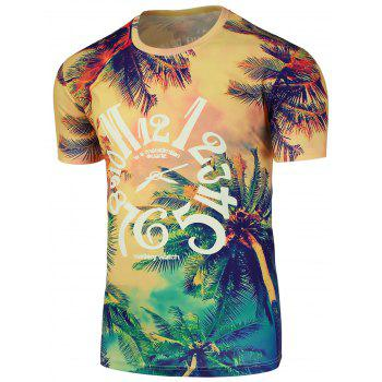 Graphic 3D Tropical Print Crew Neck T-Shirt