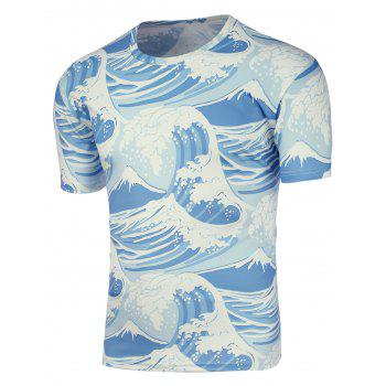 Crew Neck Ocean Waves 3D Print T-Shirt