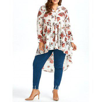 Plus Size  Long Chiffon Floral High Low Shirt