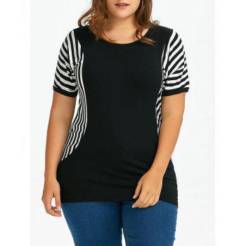 Plus Size Dolman Sleeve Long Stripe T-Shirt