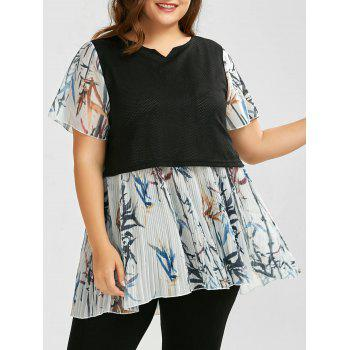 Plus Size Two Layered Pleated Chiffon Top