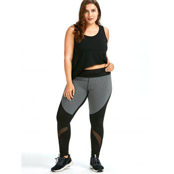 Plus Size Color Block Workout Leggings - BLACK BLACK