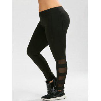 Plus Size Mesh Panel Exercise Leggings