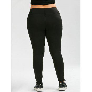 Plus Size Sheer Mesh Panel Ankle Yoga Leggings - BLACK BLACK