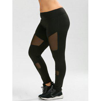 Plus Size Sheer Mesh Panel Ankle Yoga Leggings