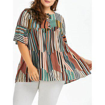 Plus Size Front Tie Bell Sleeve Stripe Smock Top