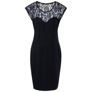 Fitted Plus Size Cap Sleeve Lace Insert Dress