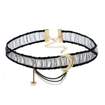 Fringed Chain Moon Star Choker Necklace